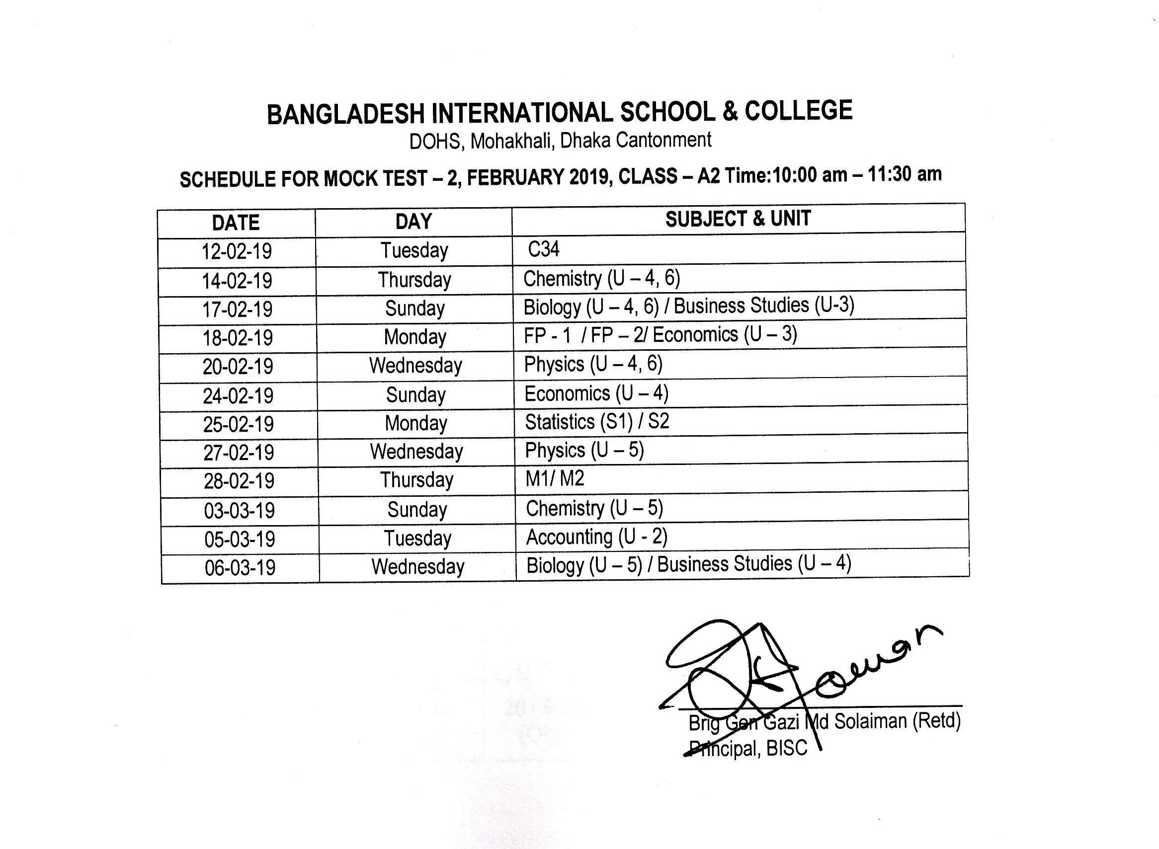 Exam Routine | Bangladesh International School & College